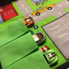 ~ Take Anywhere Car Playmat in Orange with 3 car 'garage' ~ READY TO POST ~