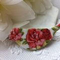 Vintage Rose Ceramic Brooch