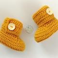 Mustard Crochet Baby Booties Pregnancy Announcement Baby Reveal