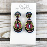 Polymer clay earrings, statement earrings in black, pink, yellow and blue