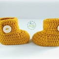 Mustard Crochet Baby Booties Pregnancy Announcement Baby Reveal