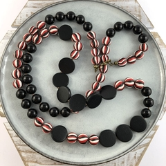 Handcrafted polymer clay and wood long necklace- black, red and white stripe