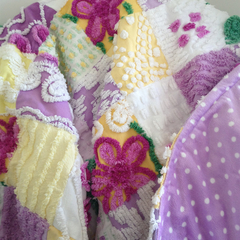 Vintage Chenille quilt purple white yellow with minky back