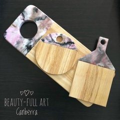 3 Piece Pink, White and Black Resin Art Serving Board Set