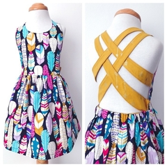 Size 2 - Summer Dress - Feathers - Navy - Metallic - Gold