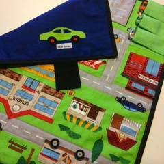 ~ Take Anywhere Car Playmat in Blue with 3 car 'garage' ~ READY TO POST ~