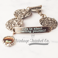OOAK Stamped vintage silver and tin bracelet with bird charm