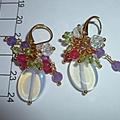 Moon stones, cherry quartz, chrysolite, alexandrite and crystals earrings