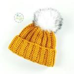 Mustard Ribbed Hand Crochet Knitted Baby Beanie Hat Bonnet Cap 0-2 months
