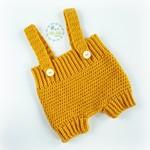 Mustard Hand Crocheted Newborn Baby Romper