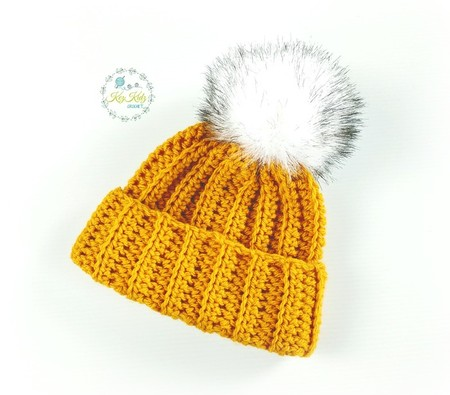 Mustard Ribbed Hand Crochet Knitted Baby Beanie Hat Bonnet Cap 0-2 months