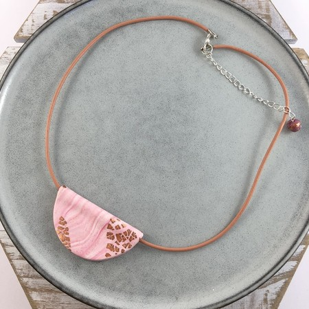 Handcrafted polymer clay statement pendant on leather cord- pink & blue