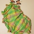 Ruffle bottom Fancy Pants. Bright green, yellow, pink and white plaid. Size 1