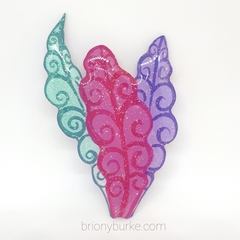 Hand Painted Alice in Wonderland Inspired Glitter Leaves Brooch