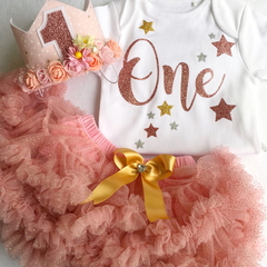 Girls Rose Gold First Birthday Flower Crown, Pettiskirt & Legwarmers Outfit