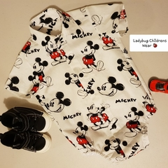 Mickey Mouse button down shirt/romper with snap close crutch. Size 00