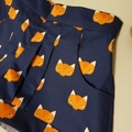 "Funky ""Fawn"" foxy shorts! Dark blue with fox face print.  Size 4"