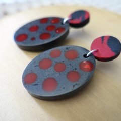 Statement earrings, black earrings, red earrings, drop earrings, dangle earrings