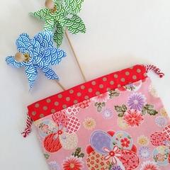 Drawstring Round Pouch - PINK - Flower