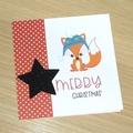 Kids Merry Christmas card - baby fox