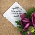 Mother of the Bride Handkerchief; wedding hanky; Hanky  Embroidered