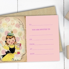 """Vintage Girl"" Birthday Invitations"