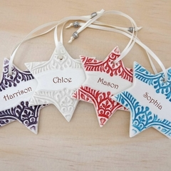 Personalised Christmas star decorations. Ceramic ornaments