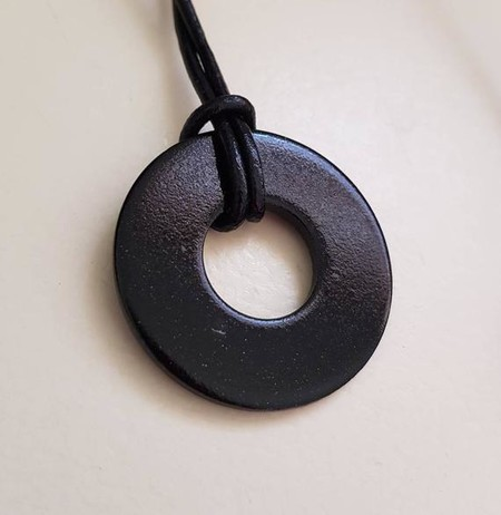 Upcycled Washer pendant necklace on leather cord Black