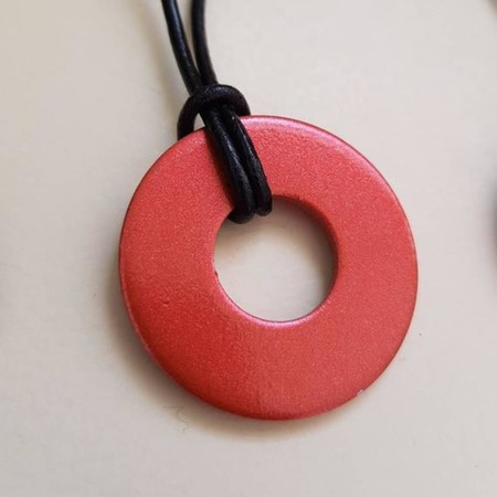 Upcycled Washer pendant necklace on leather cord Red