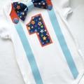 1st Birthday Boys Stars Bow Tie, Suspenders,  Number 1 Onesie