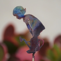 Copper Girl with Watering Can Garden Decoration