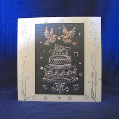 'Wedding Cake and Love Birds' Silver on Charcoal and Ivory Pearlised Card