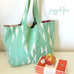 Geometric turquoise large tote bag with pink roses lining, pocket. Beach bag.
