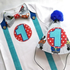 1st Birthday Boys Animal Jungle Circus  Bow Tie, Suspenders,  Number 1 Onesie