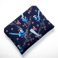 Small Coin Purse in Beautiful Blue Wren Fabric