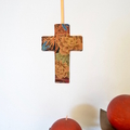 Fabric wall cross, dragonflies and peonies