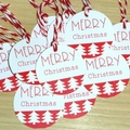 12 Merry Christmas gift tags - red & white
