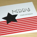 Merry Christmas card - red stripes