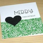 Merry Christmas card - green swirl
