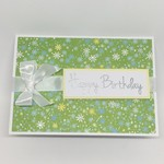 Birthday Card - Glittery Green Tiny Flowers
