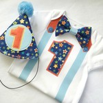 1st Birthday Boys Stars Bow Tie, Suspenders,  Number 1 Onesie