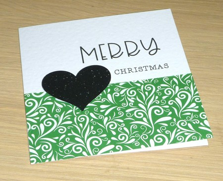 Merry Christmas card - green swirl