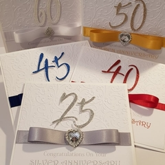 Special Milestone Wedding Anniversary Cards in themed colours