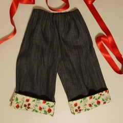 Little Hipster Pants with cuff. Cuff in cream with raspberry & strawberry vines