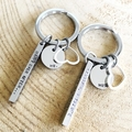 Wedding Day Gift, Mr and Mrs, Hand Stamped Keyring, Bridal Shower