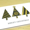 Merry Christmas card - black and gold trees