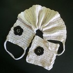 Soft White and Black Back Scrubber and Bath Mitt