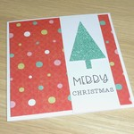 Merry Christmas card - green tree