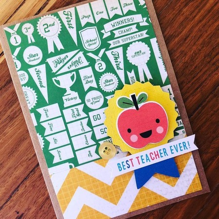 Teacher card - apple thank you - thanks - gift card handmade - free post