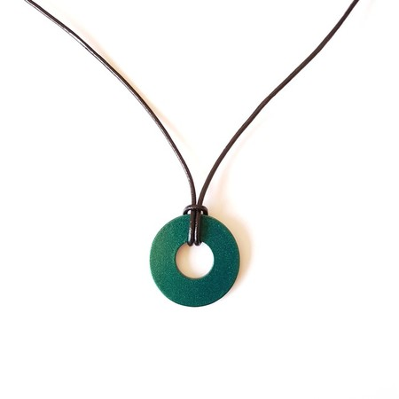 Upcycled Washer pendant necklace on leather cord Glimmer Green